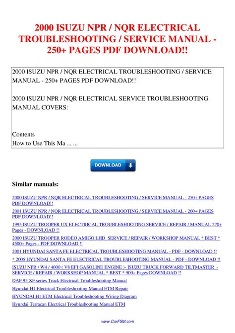 Isuzu Npr Nqr Electrical Troubleshooting Service