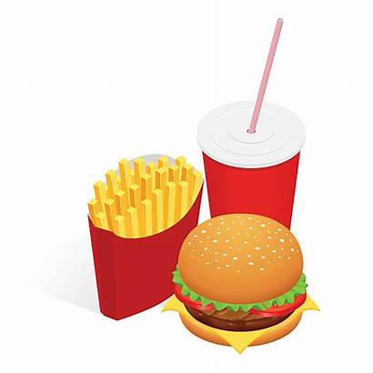 Fries Burger Isometric Clip French Sandwich Cola