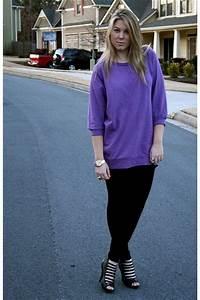 Purple H&M Shirts, Black H&M Leggings, Black Bakers Shoes ...