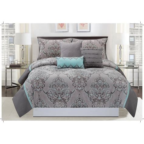 mytex home fashions silver sparkle 6 piece gray and blue