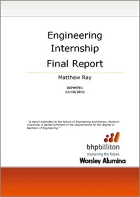 engineering internship final report bhp billiton