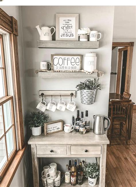 Home decor coffee bar small cafe design, kitchen coffee. Small coffee bar with floating shelves in 2020 | Home decor, Farmhouse dining room, Coffee bars ...