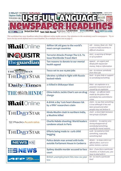 newspaper headlines  language interactive