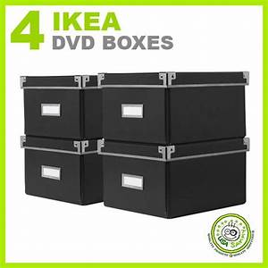 Ikea Cd Box : 4 ikea storage dvd boxes black w lids container cases ebay ~ Orissabook.com Haus und Dekorationen