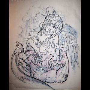 Angel And Demon Tattoo Half Sleeve - Images for Tatouage