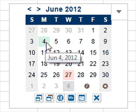 mini calendar  date picker app  excel