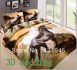 Personalized 3d oil painting animal horse bedding 100% cotton four piece set
