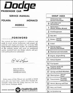 1966 Dodge Polara  U0026 Monaco Repair Shop Manual Original