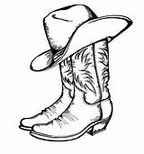 Cowboy Coloring Boot Pages Boots Clipart sketch template