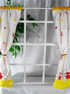 4 cafe curtains kitchen red yellow white grey retro