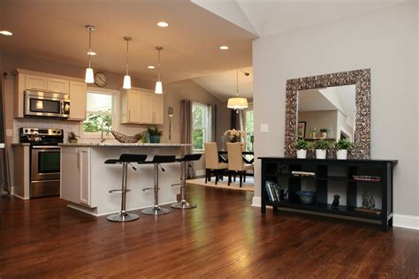 completely open floor plan   ranch remodelvaulted ceilings chrome lighting  accents