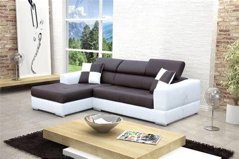 canape blanc cuir design canapé design d 39 angle madrid iv cuir pu noir et blanc