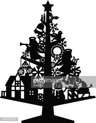 silhouette  deco christmas tree  images