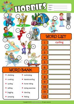 hobbies esl find  write  words worksheet  kids