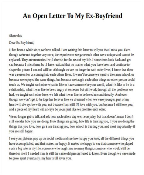 a letter to my boyfriend 36 letter exles sle templates