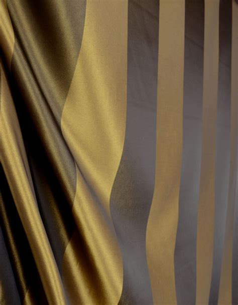 stripe 535 mocha brown gold faux silk drapery fabric by