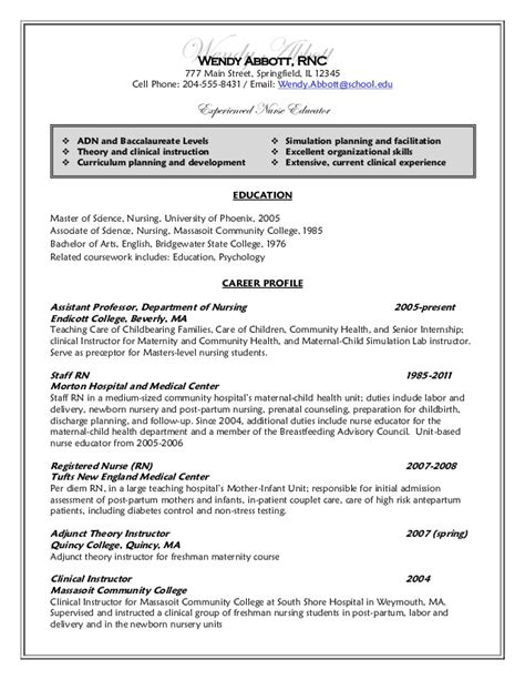 Undergraduate Nursing Resume Exles by Undergraduate Nursing Student Resume Resume After Wendy Abbott