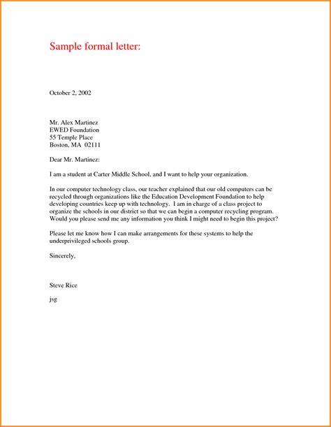 Letter Format Template 9 Formal Letter Format For College Financial Statement Form