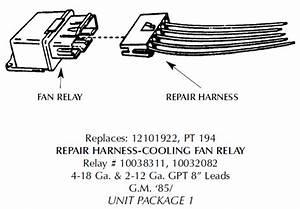 Corvette Repair Harness  Cooling Fan Relay  1984