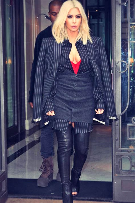 Kim Kardashian shopping in Paris - Leather Celebrities