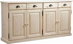 Bahut De Cuisine : buffet 4 portes 4 tiroirs en bois brut ~ Edinachiropracticcenter.com Idées de Décoration
