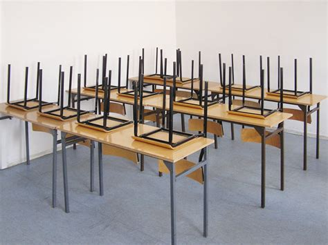 Having To Put All The Chairs Up At The End Of The School