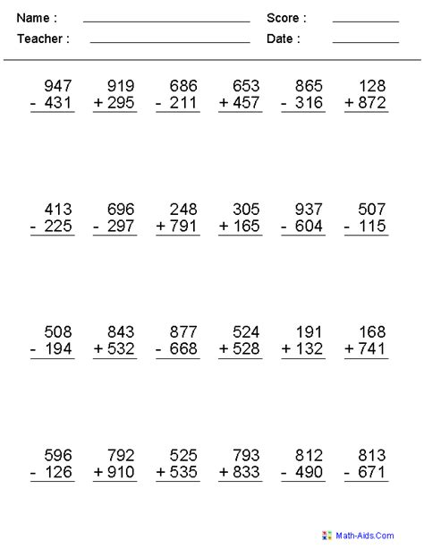 grade 4 math worksheet addition and subtraction 2 3 or 4 digits mixed operator worksheets addition