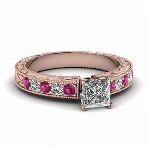 Princess cut vintage pave diamond engagement ring with for Princess cut pink diamond wedding rings