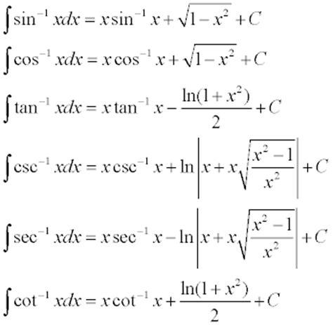 Definition Of Integrating Inverse Trigonometric Functions