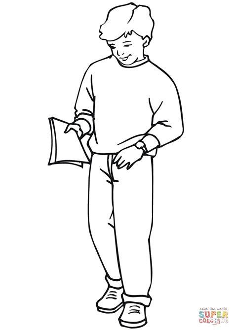 school boy coloring page  printable coloring pages