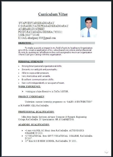 Official Cv Template by 15 Cv Firmat Word Letter Setup