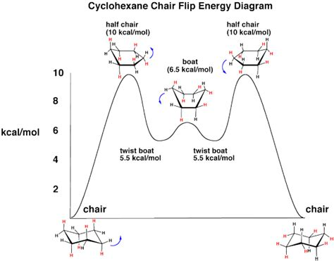 Chair Cyclohexane Axial Equatorial by The Cyclohexane Chair Flip Energy Diagram Master