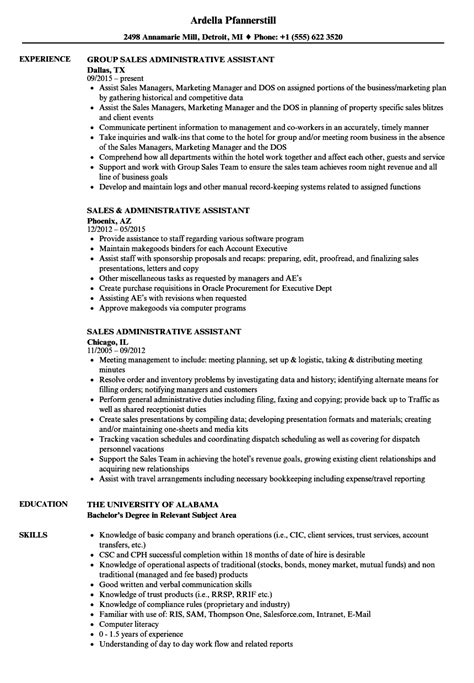 Resume Sle For Administrative Assistant sales administrative assistant resume sles velvet