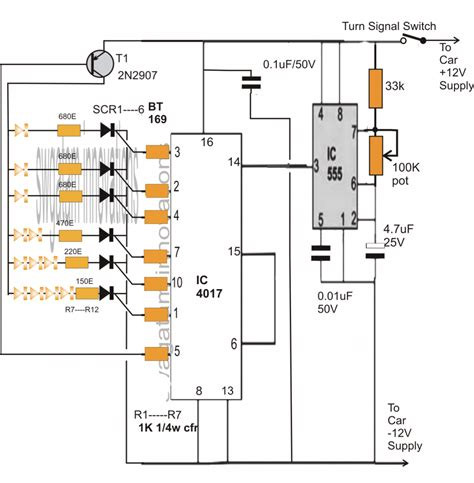 sequential bar graph turn light indicator circuit for car circuit projects