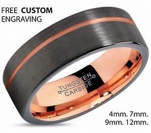 gunmetal tungsten ring rose gold black wedding band ring With black tungsten ring rose gold wedding band