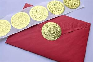 gold foil sticker seals large round embossed stickers With wedding invite envelope stickers