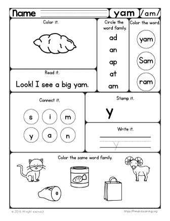 yam worksheet   word family primary learning