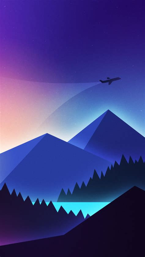 wallpaper airplane mountains landscape neon vibrant