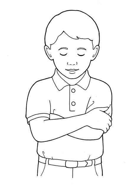 primary boy folding arms  bowing head