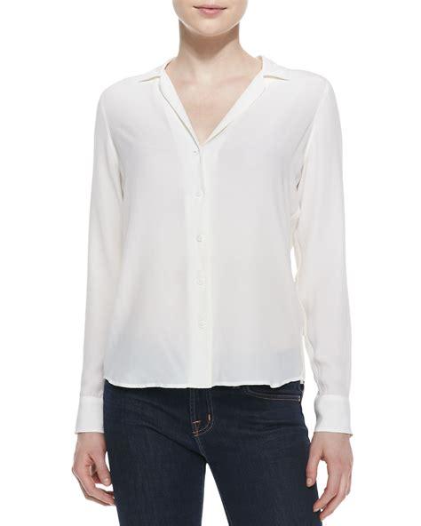 white blouse sleeve equipment adalyn silk sleeve blouse in white lyst