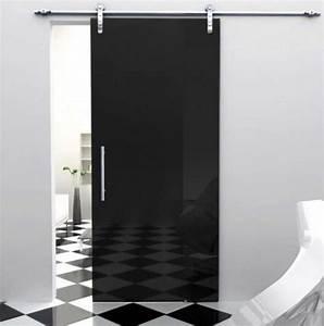Sliding Door For Bathroom With Black Glass Color Ideas