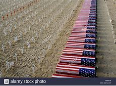 Crosses and American flag draped caskets commemorating