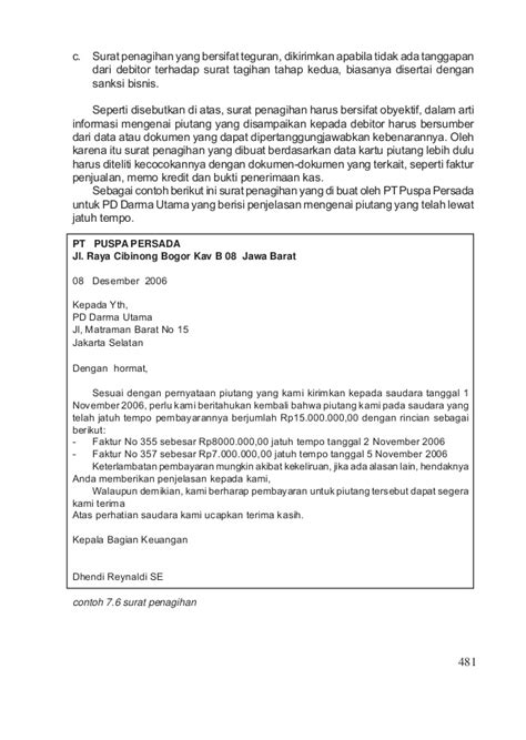 contoh surat penagihan yang bersifat teguran penjualan jilid 3