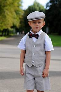 toddler ring bearer outfit baby boy dress clothes grey hat With baby boy dress clothes wedding