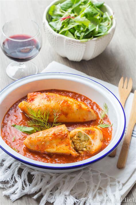 encornet cuisine encornets farcis au riz à la méditerranéenne cuisine addict cuisine addict de cuisine