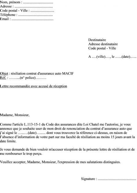 Lettre De Résiliation Assurance Vie by Modele Resiliation Assurance Auto