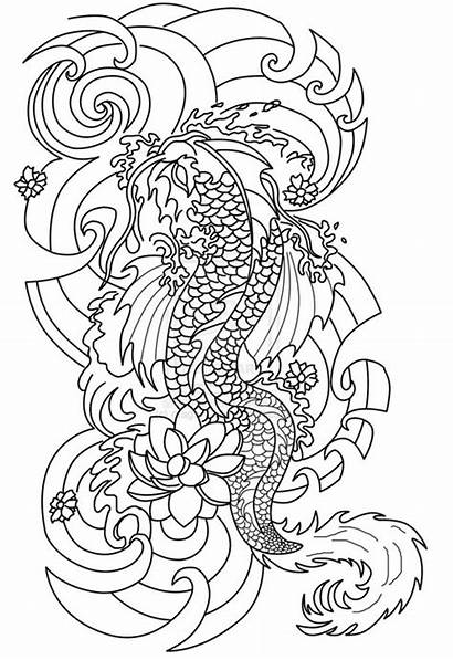 Coloring Tattoo Pages Adult Japanese Outline Tattoos