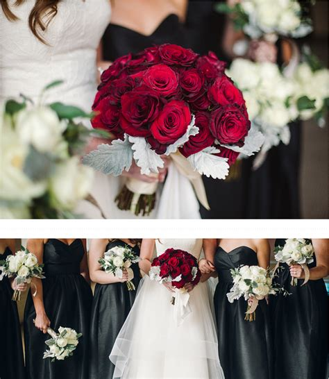 classic fall wedding black and white with crimson roses boston s floral couture