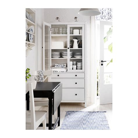 hemnes glass door cabinet with 3 drawers white stain 90x197 cm ikea