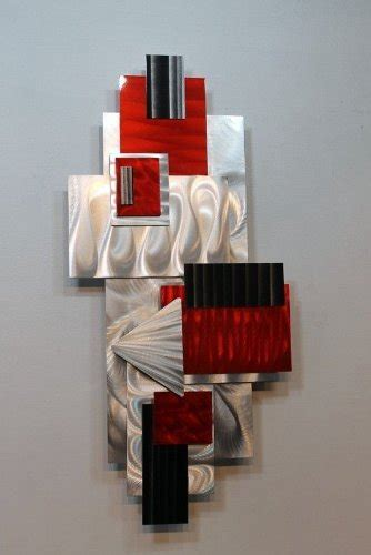 silver red black geometric abstract wall sculpture